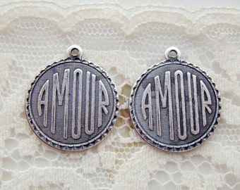Antiqued Silver Ox Romantic AMOUR  Charm Word Pendant 19mm Round - 4