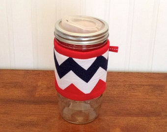 Mason jar cuff - Red, navy, and white wide mouth jar cozy sleeve