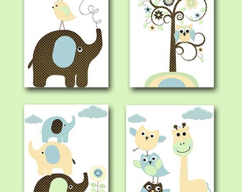 Childrens Wall Art Baby Room Decor Baby Boy Nursery Prints Baby Nursery Decor Elephant Nursery Giraffe Nursery set of 4 Yellow Blue