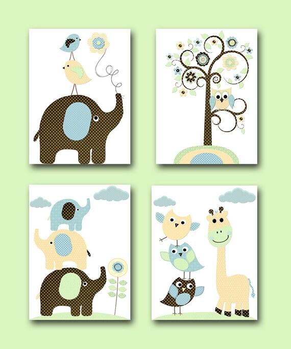 Childrens wall art baby room decor baby boy nursery prints - Wall decor for baby boy ...