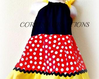 Minnie Mouse, Party Dress, OTT, Pageant Wear,  Boutique Style size Ruffle dress 6, 12 24 months, size 2 3 4 5T