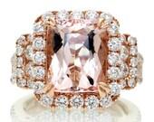 18K Rose Gold Diamond Halo 11x9 mm Cushion Cut Morganite Three Stone Multi Row Engagement Anniversary Gemstone Ring