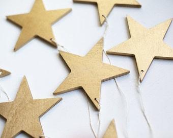 Gold stars, star set, star ornament, Christmas tree decorations, Holiday decor, set of 6