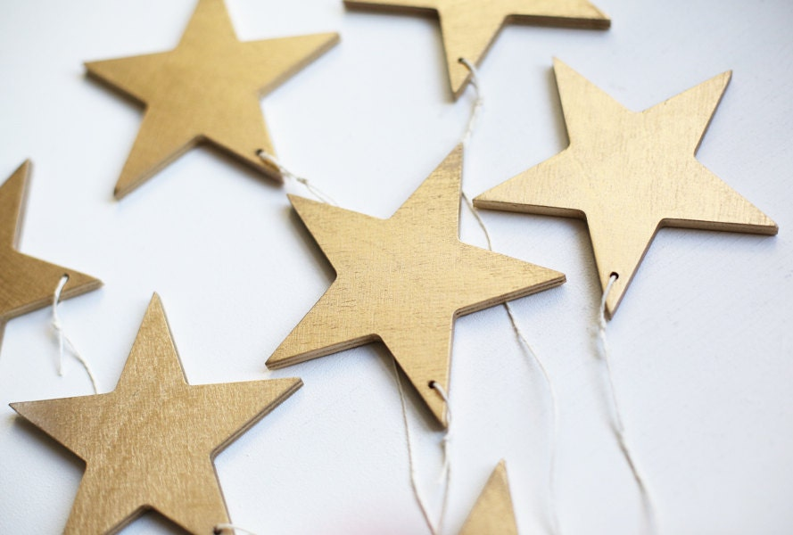 Gold Stars Christmas Wooden Star Star Ornament Christmas