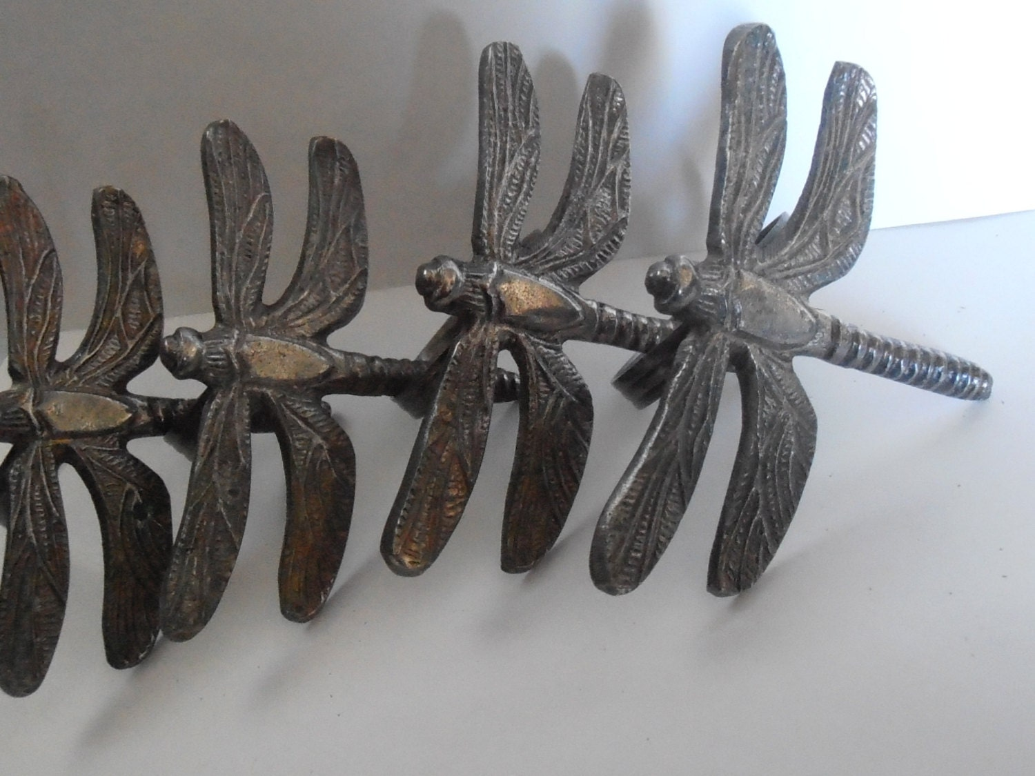 Metal Dragonfly Napkin Rings Set Of 4 Heavy Rustic