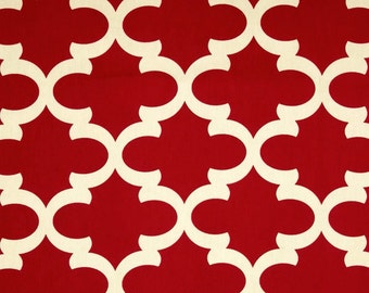 1/2 Yard Fynn Timberwolf Red - Quatrefoil - Deep Red on Natural Fabric - Lattice, Trellis, Moroccan - Home Decor