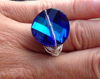 Last one!  Peacock Blue Ring, Wire Wrapped Ring, Bermuda Blue, Summer Jewelry, Swarovski Crystal ring