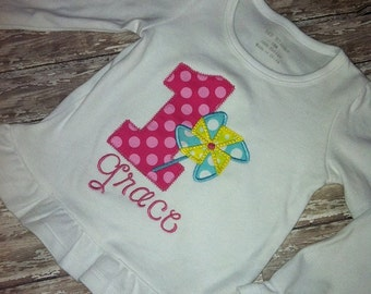 Colorful Pinwheel Birthday Shirt, any number available