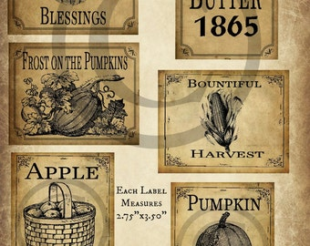 Primitive Autumn Fall Apple Pumpkin Harvest Pantry Logo Labels Jpeg Digital File for Crock, Jar, Pillows, Dolls, Ornies, Crates, Boxes