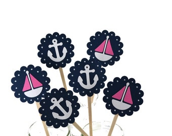 12 Sailboat Cupcake Toppers / Nautical Baby Shower / Nautical Invitation / Pink Sailboat Toppers /Nautical Cupcake Toppers /Baby Shower