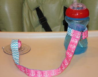 Glitter Anchors/Aqua Chevron Sippy Cup Leash, Sippy Strap, Sippy Cup Strap w/ Suction Cup, Bottle Tether, Bottle Strap, Toy Tether