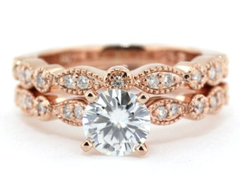 Rose Gold Wedding Set Vintage Style Engagement Ring And Wedding Band Sweet Bliss - NO CENTER STONE