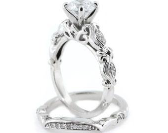 Wedding Set engagement ring and wedding band diamond setting moissanite center forever brilliant moissanite ring rose gold white gold yellow