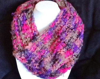 Handmade cowl, very soft Multicolor scarf, Bright, Pink, Knitted Cowl, loose tube shaped scarf by Wcards
