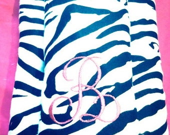 Monogrammed Zebra Print Burp Cloths with Hot Pink Soft Backing, Zebra Burp Cloths, Baby Shower Gift, Unique Shower Gifts, Embroidered Gifts