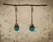 Art Deco Earrings with Turquoise Crystal & Pearls
