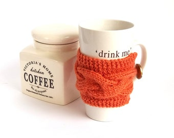 SALE - 50% Off! Coffee Cup Cozy. Knitted Mug Cozy. Knit Tea Cup Cosy. Pumpkin Orange Knit Cup or Mug Cozy.