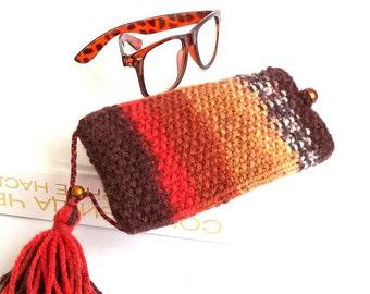 Burnt Orange Glasses Case. Reading Glasses Case. Eyeglasses Holder. Sunglasses Knit Case.
