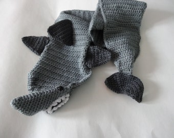 Crochet shark scarf child and adult sizes neck warmer