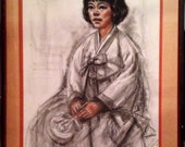 Freda Reiter Painting ORIGINAL Charcoal Painting Drawing by Renown Artist Freda Reiter KOREAN GIRL 1966 Artist Signed Rare