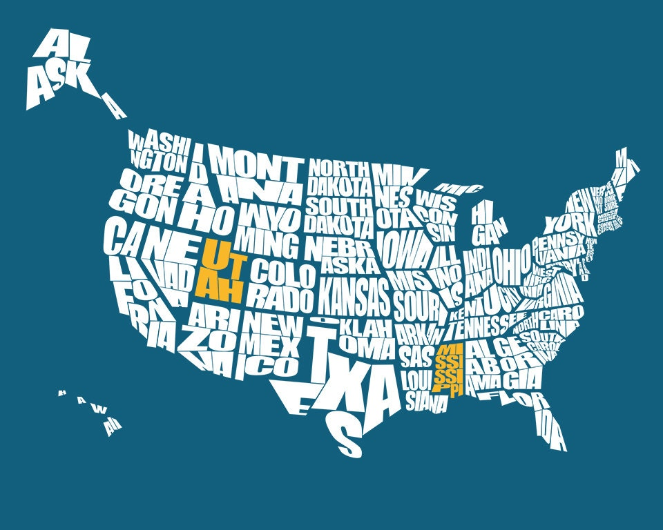 USA Typography Map With State Highlighted A Typographic Word - Us word map illionis