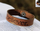 "Leather ""Believer"" Bracelet- Christian Theme"