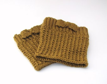 Boot cuffs, toppers, bronze wool and silk with bow