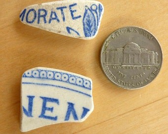 2 beach SEA POTTERY SHARDS with Blue Lettering Antique Scottish