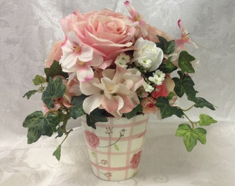 Silk Floral Arrangement Valentine's Day Gift for Her in Shabby Chic Special Occasion Birthday Get Well Gift Arrangement
