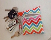 Mini Wet Bag Keychain in chevron