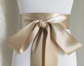 Champagne Satin Ribbon Sash / Ribbon Sash / Satin Bridal Sash /  bridesmaid Sash /