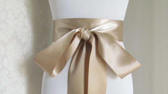 Champagne Satin Ribbon Sash / Ribbon Sash / Satin Bridal Sash /  bridesmaid Sash /