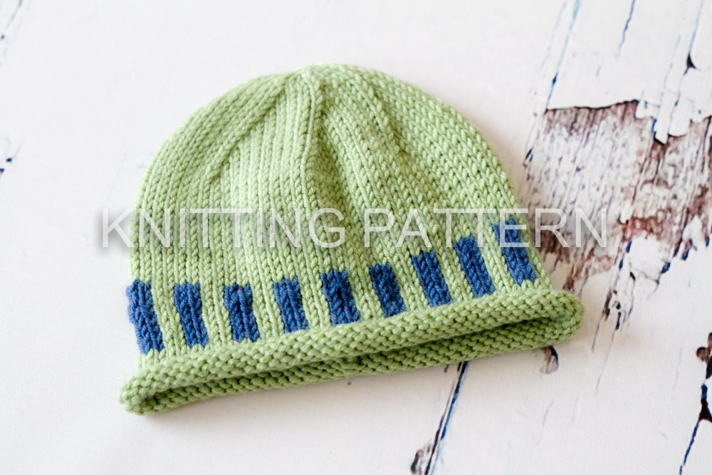 Newborn Beanie Knitting Pattern : Knitting Pattern Colour Bars Baby Beanie Hat Debbie Bliss