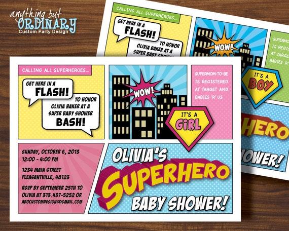 superhero baby shower invitation printable super hero party, Baby shower invitations