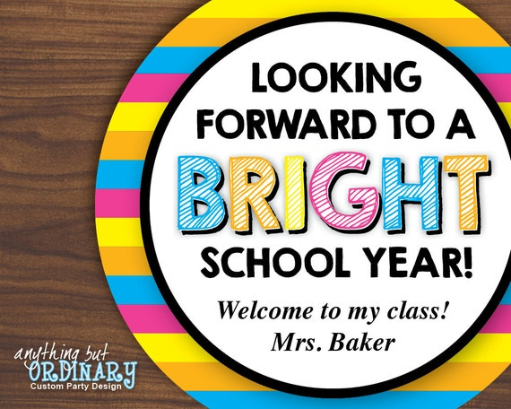 Bright New School Year Gift Tags DIY Circle Labels for