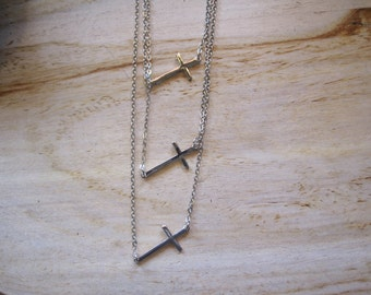 Silver Cross Necklace - Layered Cross Necklace - Horizontal Cross Necklace