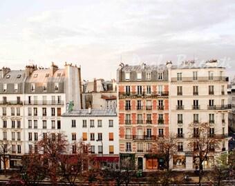 Paris Travel Photography, Paris Print, Europe, Houses, Red, Blue, White, Vintage, Wall Art, Home Decor, Fall, Autumn