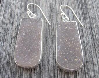 Sparkly Druzy Earrings- Drusy Silver Earrings- Crystal Earrings- Druzy Earrings- Gemstone Earrings- Stone Earrings- Statement Earrings