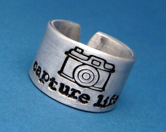 Photographers - Capture Life - A Hand Stamped Aluminum Ring