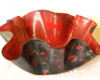 "Painted Upcycled Record Album Bowl ""Red & Gold"""