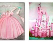 Princess kids Wall Art SET 2 Prints for Baby Girl Nursery Decor, Girls room Decor, Pink Purple Peach Blue, Princess Dress & Castle Wall Art