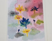 Original watercolor card, Flowers, lily pond, lotus, nature, water, unique, watercolor art, blank card