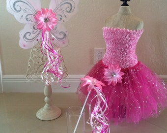 Pink Fairy Costume, Pink Fairy Wings, Pink Fairy Dress, Tinkerbell Costume, Fairy Party Favors, Princess Party Favors, Princess Costume