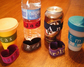 Personalized Bottle Bands - Drink Buddies to Identify Your Bottle/Drink
