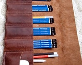 Leather Pencil Roll, Paintbrush Roll, Brush Holder, Pencil Storage, Paintbrush Storage, Pencil Holder, Leather Pencil Pouch, Pencil Case
