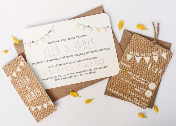 Burlap wedding-invitation - pastel bunting hessian