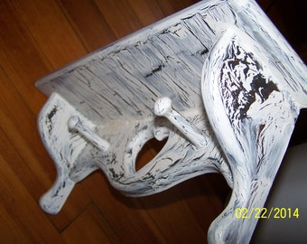 Shelf ~ Coat Rack ~ Hat Rack ~ Crackle White over Black ~ 17 3/4 inch long ~ 5 1/2 inch deep ~ 7 inch high ~ Shabby chic ~ Ready to Ship