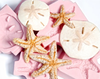 Starfish and Sand Dollar Silicone Mold set 3 starfish molds & 2 sand dollars molds - food safe fondant candy - craft resin polymer clay (253