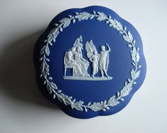 Antique Wedgwood Blue Dip Scalloped Daedalus Covered Trinket
