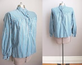 1970s Vintage Yves Saint Laurent Blouse Shirt Blue Black Stripe Cotton Tunic / Medium